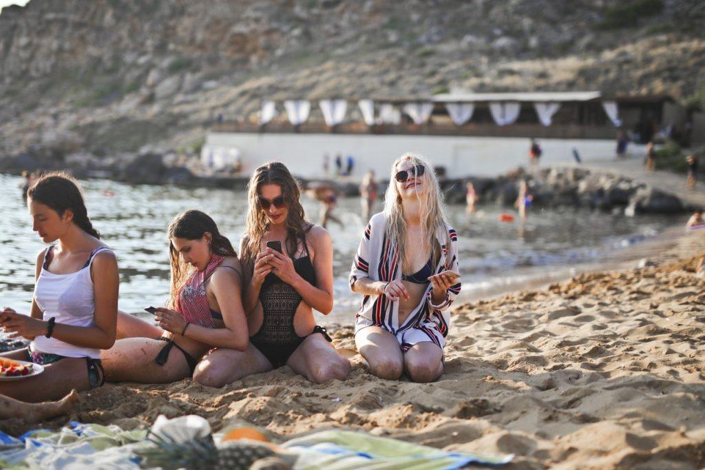 four girls on beach