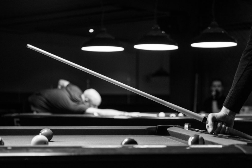 black and white pool table